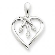 14k White Gold Three Stone Diamond Heart Pendant