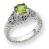 10k White Gold Diamond and Peridot Ring