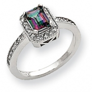 10k White Gold Diamond and Mystic Fire Topaz Ring