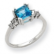 10k White Gold Diamond and Blue Topaz Ring