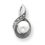 14k White Gold 6mm Pearl A Diamond pendant