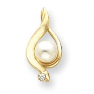 14k 5.5mm Pearl A Diamond pendant