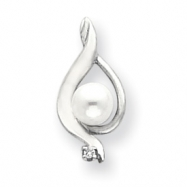 14k White Gold 5.5mm Pearl A Diamond pendant