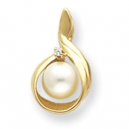 14k 7mm Pearl A Diamond pendant