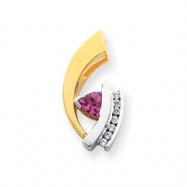 14k Two-tone 6mm Pink Tourmaline AA Diamond slide
