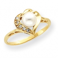 14k 6mm Pearl A Diamond ring