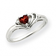 14k White Gold 4mm Heart Garnet AA Diamond Ring