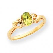14k Peridot & AA Diamond Ring
