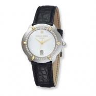Mens Charles Hubert Diamond 18k Accent Crocodile Band White Dial Watch ring
