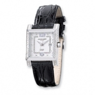 Ladies Charles Hubert Diamond Bezel Black Leather Band Watch ring