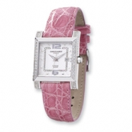 Ladies Charles Hubert Diamond Bezel Pink Leather Band Watch ring