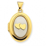 14k White Mother of Pearl Double Heart 21mm Oval Locket