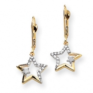 14k with Rhodium Diamond Star Leverback Earrings