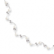 16in Rhodium-plated Floating Pearl Wave Necklace chain