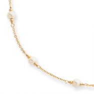 16in  Gold-plated  Small White Glass Pearl Necklace chain