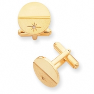 Gold-plated .01 Ct. Diamond Polished Florentined Cuff Links