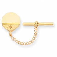 Gold-plated.01 Ct. Diamond Polished Florentined Tie Tack