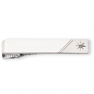 Rhodium-plated .01 Ct. Diamond Polished Florentined Tie Bar