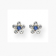 14K Clear & Blue Crystal Flower Earrings