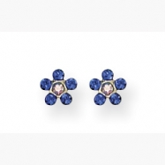 14K Blue & Aurora Borealis Crystal Flower Earrings