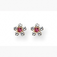 14K Clear & Rose Crystal Flower Earrings