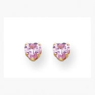 14K 4mm Pink Heart CZ Earrings