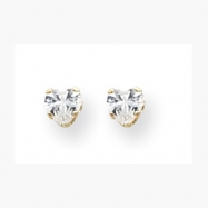 14K 4mm Clear Heart CZ Earrings