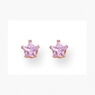 14K 4mm Pink Star CZ Earrings