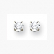 14K White 5mm CZ Earrings