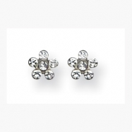 14K White Clear Crystal Flower Earrings