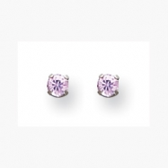 14K White 3mm Pink CZ Earrings