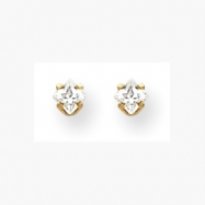 18k  3mm Square CZ Earrings