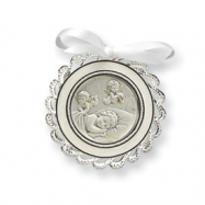 Sterling Silver White Crib Medal