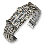 Sterling Silver/Gold-plated Antiqued Blue Topaz Cuff Bangle