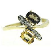 14K White Gold Smoky Topaz & Citrine & Diamond Ring