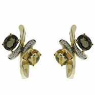 14K Yellow Gold Smoky Topaz & Citrine & Diamond Earrings