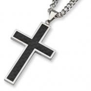Stainless Steel Carbon Fiber Cross Necklace chain