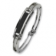 Stainless Steel Carbon Fiber Hinged Bangle