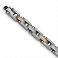Stainless Steel 14k Gold Inlay Bracelet