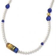 14k 5.5mm Pearl & Murano Glass Bead Necklace