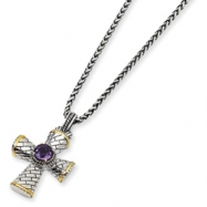 "SS/14ky Antiqued Amethyst 18"" Cross Necklace"