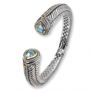 SS/14ky Antiqued Blue Topaz and Peridot Hinged Bangle Bracelet