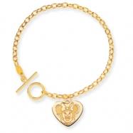 14k Disney 7.5inch Minnie Heart Charm Bracelet