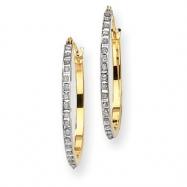 14k Diamond Fascination Round Hinged Hoop Earrings