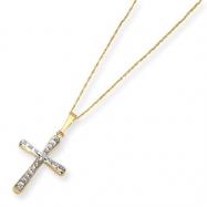 14k Diamond Fascination 18in Cross Necklace