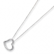 14k White Gold Diamond Fascination 18in Small Heart Necklace