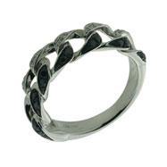 14K White Gold Diamond Chain Ring