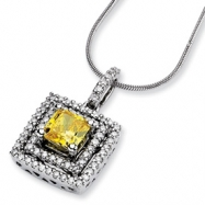 14kw Emma Grace Sq. Radiant Cultured Diamond 16in Pendant