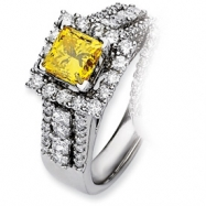 14kw Emma Grace Princess Cultured Diamond Ring