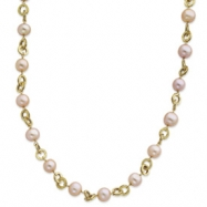 14k Pink Cultured Pearl & Textured Link Necklace chain